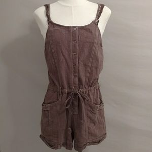 Free People Romper Brown Cotton Shorts Sleeveless